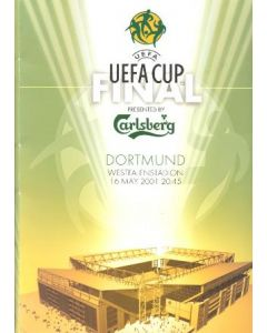 2001 Liverpool v Deportivo UEFA Cup Final in Dortmund, Germany on 16/05/2001 a set of a TV media pack, a teamsheet, half time and full time report set and a VIP Guide